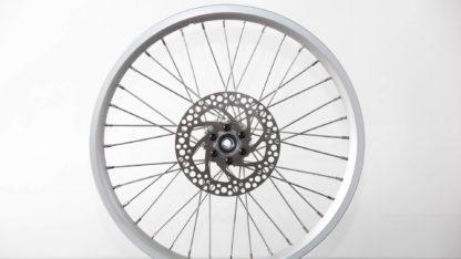 Set 16 inch STRIDA zilver aluminium velgen met remschijven en achtertandwiel (zonder banden) - 448-16-silver-set brakediscs freewheel - wiel - wielen