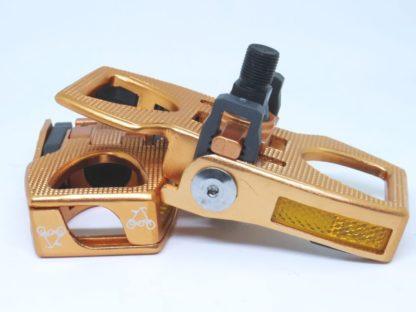 Kupferfarbene Alu Pedale, klappbar - Fahrradpedal - Klapppedale - Pedale - ST-PDS-003