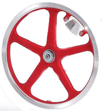 16 pouces roue à bâtons arrière (rouge) - 16 pouces - 448-lt-16-spoke-red-rear - 5 Rayons vélo - frein - rouge