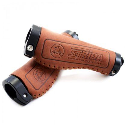 Brown leather Comfort STRIDA handlebar grips - Brown - Color - leather - ST-GP-001