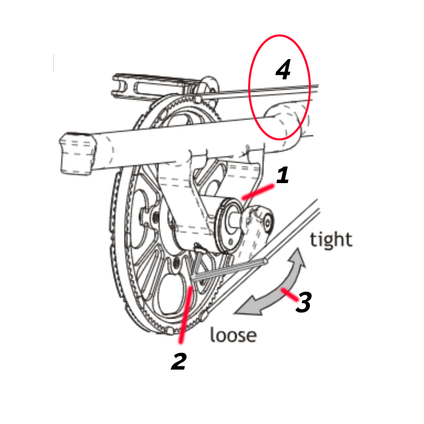 Adjusting belt tension on a STRIDA